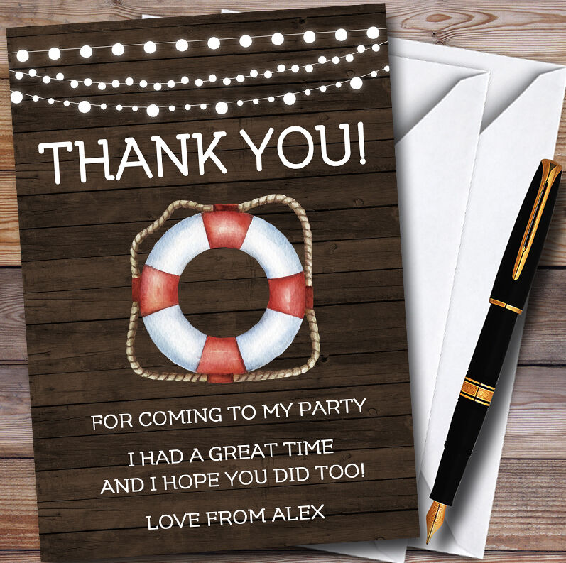 Nautical Rustic Wood Personalised Party Thank You Cards