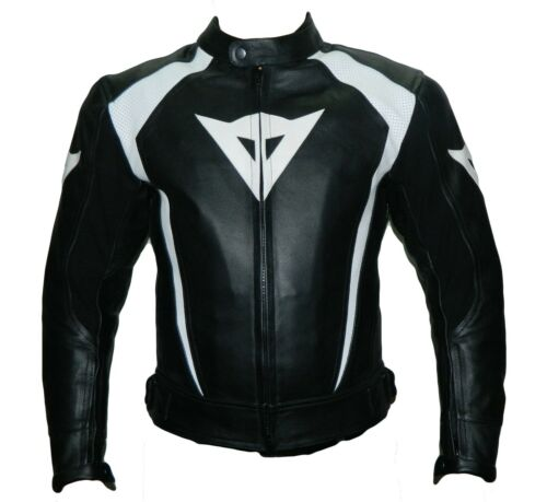 NEW BLACK MOTORBIKE RIDING COWHIDE LEATHER SPORTS MOTORCYCLE LEATHER JACKET