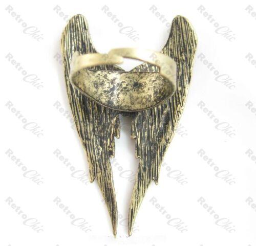 BIG ANGEL WING rockabilly EARRINGS//RING large wings BLACK//SILVER//GOLD FASHION