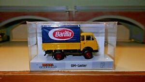 Brekina-OM-Lupetto-giallo-con-telone-blu-pasta-Barilla-HO-1-87-Edizione-Limitata