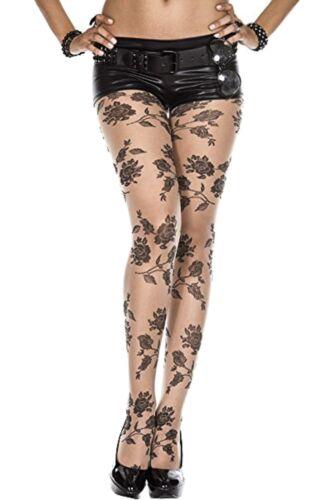 Gothic Rose Halloween Goth Punk Rave Tights Pantyhose Hosiery