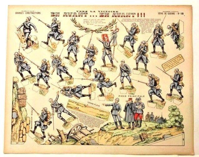 Imagerie d'epinal No18 modelo de papel de construcción guerre vers la victoire en avant