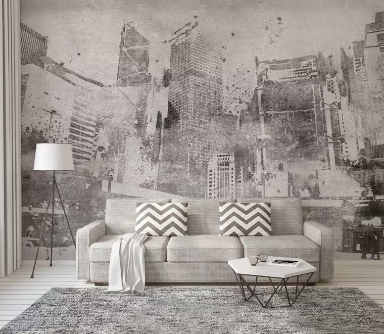 3D grau Building I2445 Wallpaper Mural Sefl-adhesive Removable Sticker Wendy