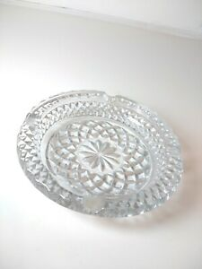 """Vintage Clear Crystal Cut Glass Round Ashtray  6"""""""
