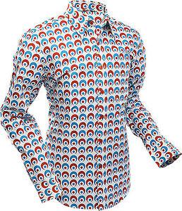 Shirt rood 60s Op blauw Psychedelische Art Creme Chenaski Mens oogbol Retro 70s gPqCaw