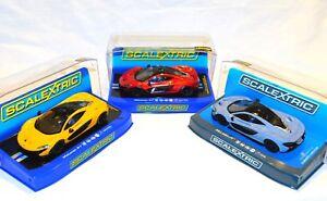 3x-Scalextric-Slot-Car-McLaren-P1-Orange-Yellow-Grey-C3643-C3644-C3877