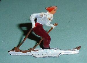 Vintage-Heinrichsen-German-Flat-Lead-034-Girl-Cross-Country-Skier-034-Near-Mint-F-S-A