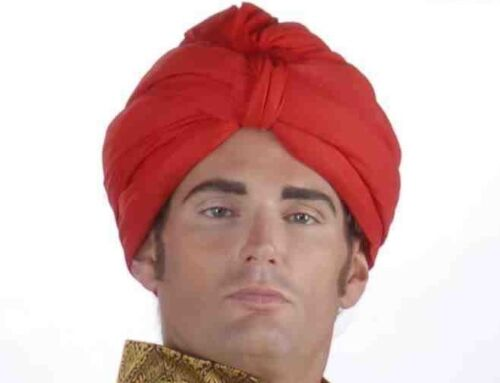 RED TURBAN ARABIAN SHEIK HEADPIECE HAT Egyptian Arab Adult Genie Wrap Swami