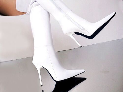 Couture Stiefel Leather Boots Bianco Cq Overknee 40 White Stivali Custom Pointy aOCwaHxqd
