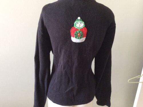 Winter Carly Christmas Snowman M Knit Claire Sweat Appliqué Cardigan St Medium rnSW6qrz