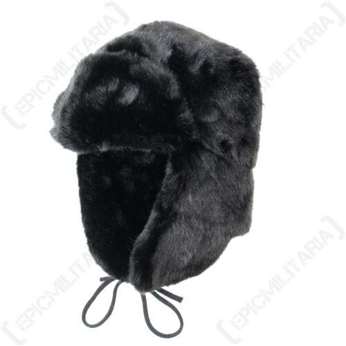Nero in Finta Pelliccia colbacco-Inverno Caldo Russo Cosacco Sci spessa Orecchio Flap Cappello Nuovo