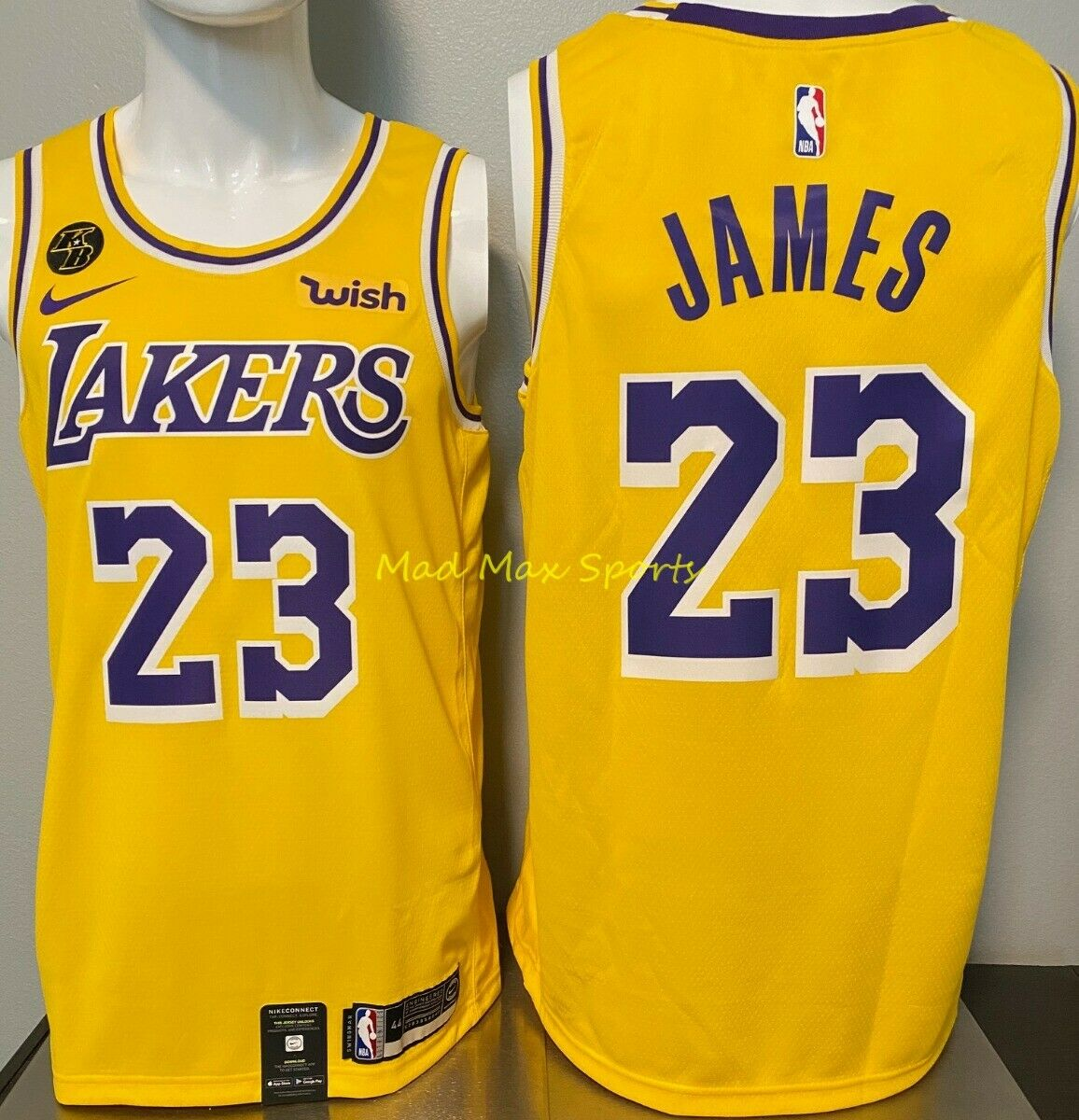 LEBRON JAMES Los Angeles LAKERS Nike WISH Gold KOBE KB Patch Swingman Jersey