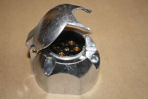 2 X 7 Pin Metal 12N Coche Remolque Caravana Horsebox Cableado Toma De Luz Barra de remolque