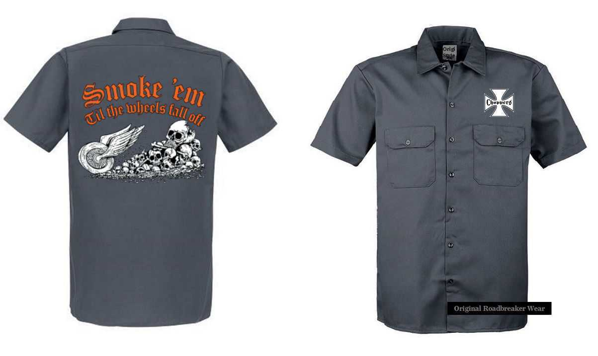 Worker Shirt Grey Vintage HD Biker Chopper & Oldschool Motif Model Smoke` Em