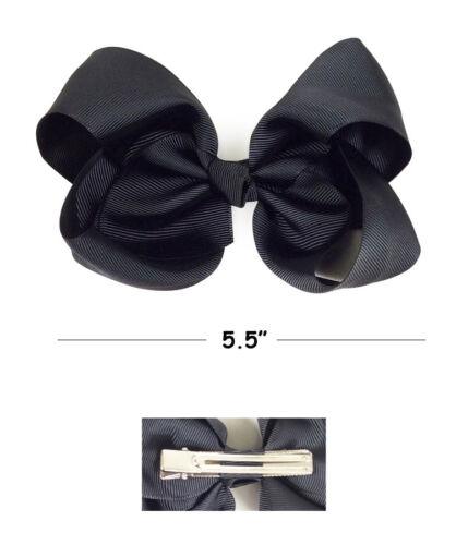 "30 PCS 5.5/"" Baby Girls Huge Grosgrain Ribbon Boutique Hair Bows Kids Hair Clip"