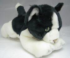 Russ Berrie Applause Lying Black & White Plush CHINCHILLA CAT ~NEW~