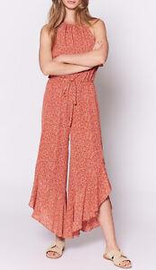 Joie Jael Silk Cinnamon Red Jumpsuit Causal Ruffle Romper Size M $398