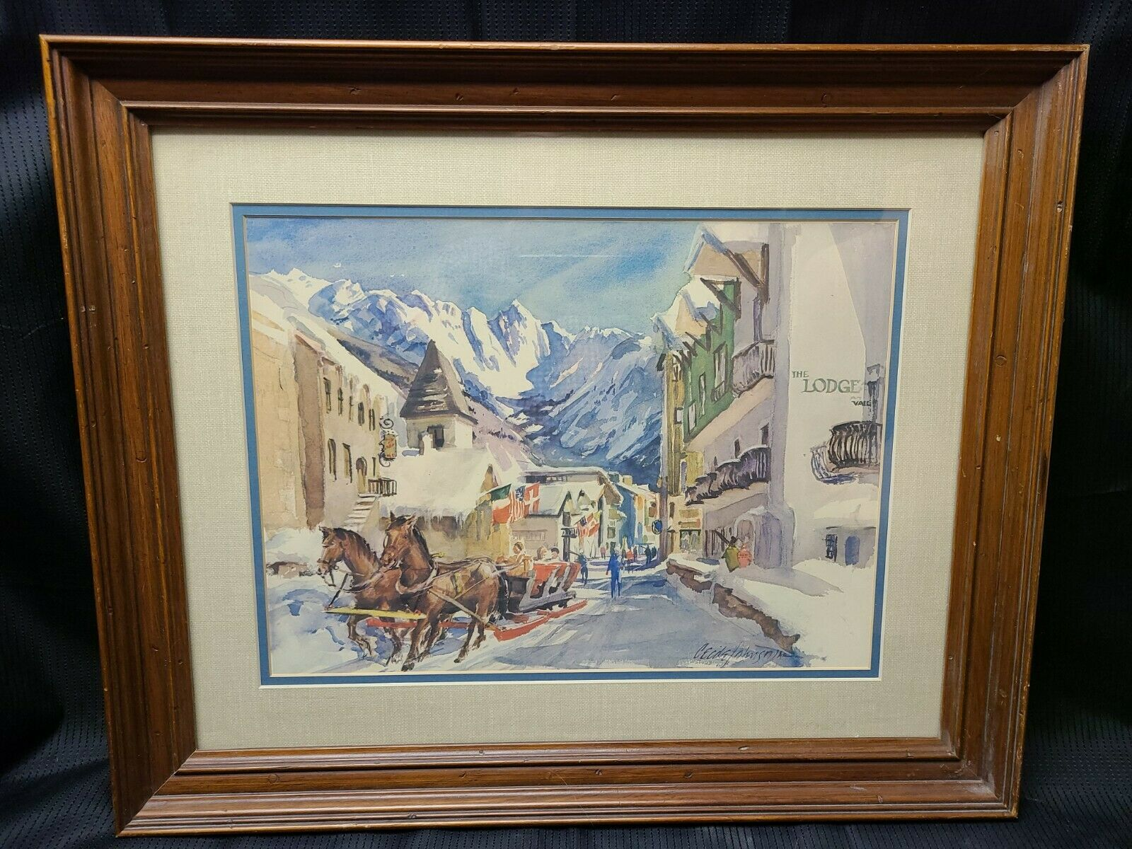 Cecile Johnson Watercolor Print Mountain Landscape Village Scene Matted Vintage on eBay thumbnail