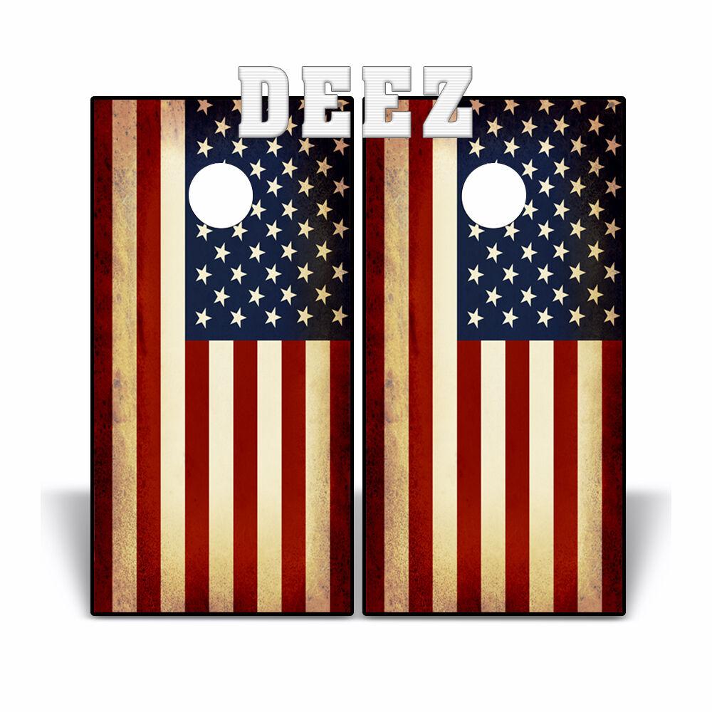 Cornhole Board USA RUSTIC AMERICAN FLAG Beanbag Toss Vinyl Decal Wrap U.S.A.