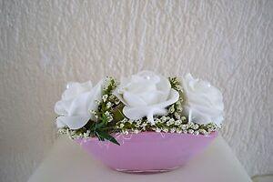 Tischdeko Shabby Weiss Rosa Kunstblumen Blumen Gesteck Hochzeit Taufe