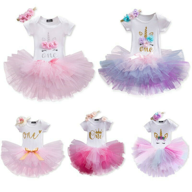 ACSUSS Infant Baby Girls First 1ST Birthday Party Outfits Short Sleeves Romper with Tutu Skirt Headband Clothes Set