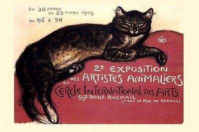 1909 Cat International Artist Exposition France Vintage Poster Repro FREE S/H