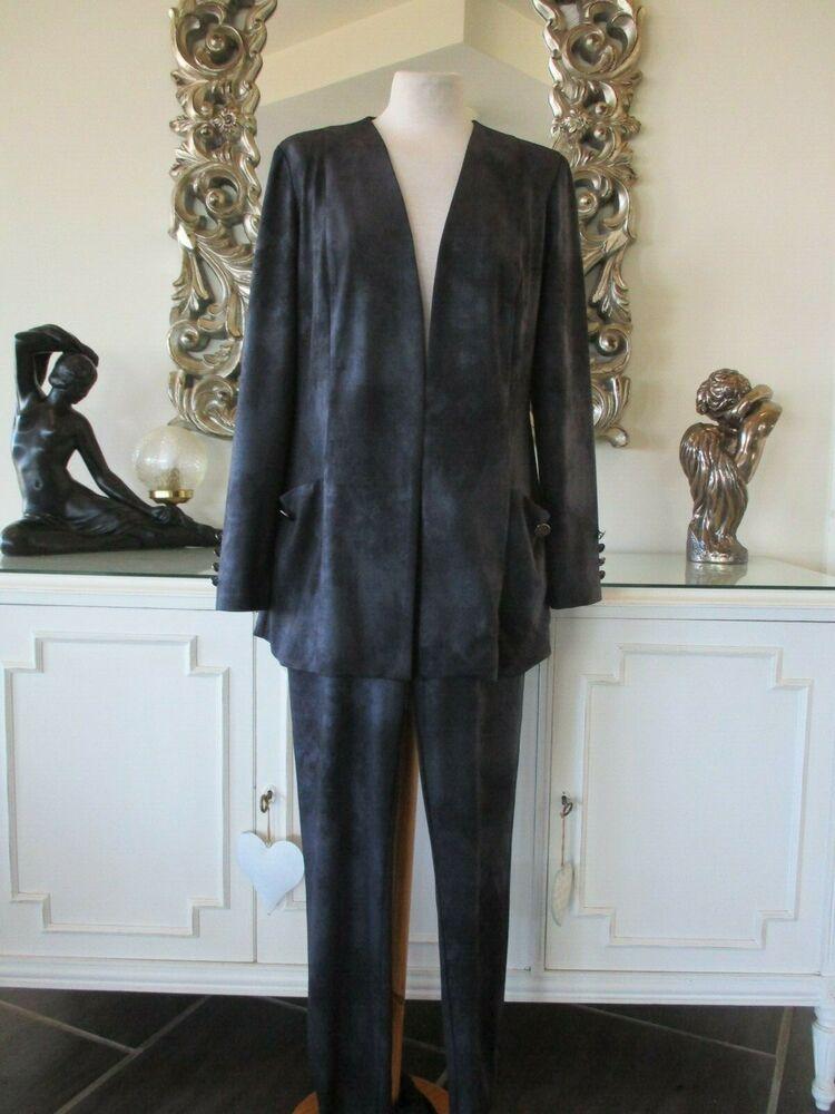 Frank Lyman Black Charcoal Marbre Longue Veste Pantalon Costume 10 12 Bnwt Automne 2019