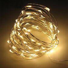 Micro LED Starlight String 30 Lights 10\' Timer Flexible Wire Warm ...
