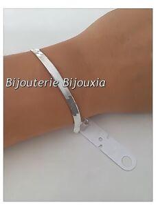 Bracelet-Maille-Plate-Miroir-En-Argent-Massif-925-000-Rhodie-Bijoux-Femme