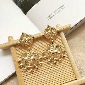 Fashion-Women-Roman-coin-Round-Earring-Statement-Hoop-Earrings-Dangle-Jewelry
