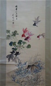 Excellent-Chinese-100-Hand-Painting-amp-Scroll-Goldfish-By-Wu-Zuoren-QQBC268