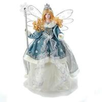 Holiday Angel Christmas Tree Topper Top 18 Blue Silver White Blonde Hair