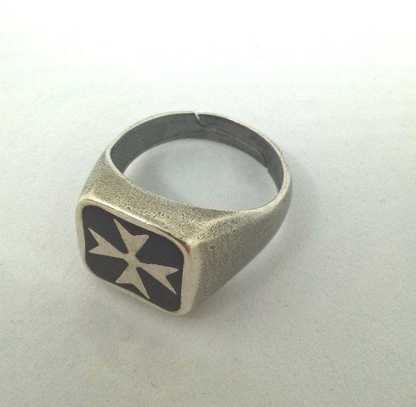 Anello UOMO argentoO 925 Brunito Fascia misura regolabile Croce di di di Malta 6313e9