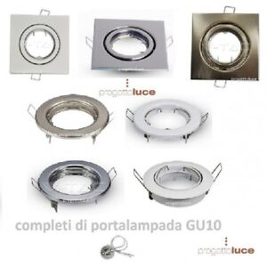 Porta-Faretto-ORIENTABILE-da-Incasso-Lampadine-LED-PortafarettI-GU10-GU5-3-COB