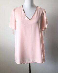 Pleione-Womens-Size-Medium-Pink-V-Neck-Split-Tie-Short-Sleeve-Semi-Sheer-Blouse
