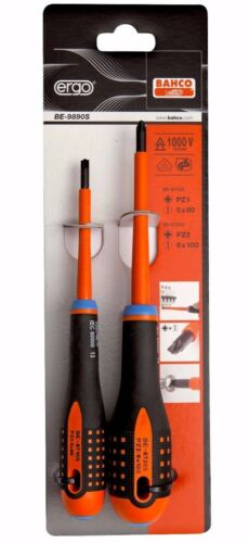 BAHCO BE-9890S ERGO Modulo Terminal PZ2 /& PZ1 Pozi//Slot VDE Screwdriver Twin Set