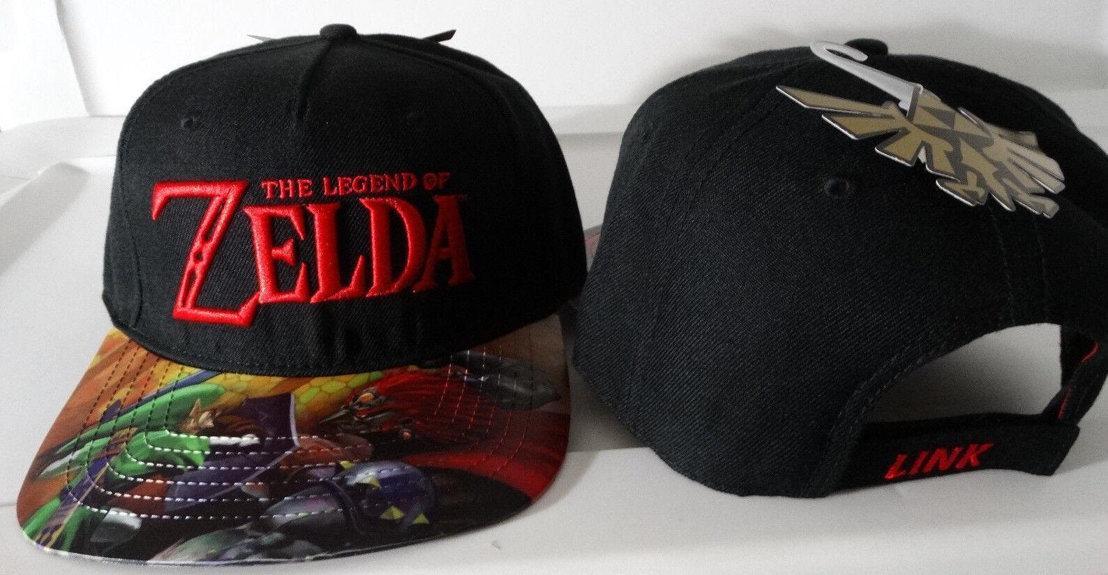 The Legend Vinyl Of Zelda Link Printed Vinyl Legend Bill Nintendo Black Flatbill Hat Nwt cdc934