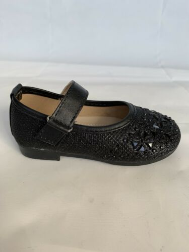 Girls Toddler jeweled glitter strip ballet flats shoes  black gold sliver