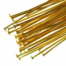 250 Gold Plated Flat Headpins 40mm Metal Head Pins Jewellery Making Findings