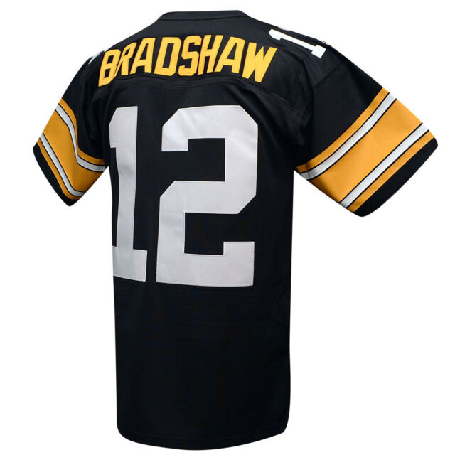 76a3a5285 Pittsburgh Steelers Terry Bradshaw Black 1976 Mitchell & Ness Jersey ...