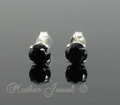 5mm REAL SOLID 925 STERLING SILVER Black Simulated Diamond Mens Ladies Earrings