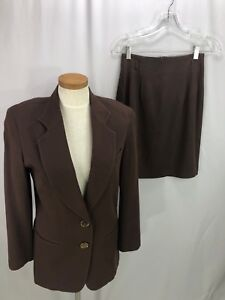 The-Limited-Women-039-s-Brown-Wool-Blend-Skirt-Suit-Skirt-4-Jacket-S
