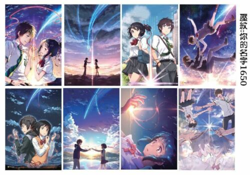 8PCS//set Anime Your Name kimi no na wa Night A3 Posters Print