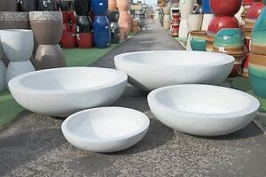 Garden-Patio-Planter-Pot-Modstone-Montague-Round-Lightweight-Low-Bowl-White