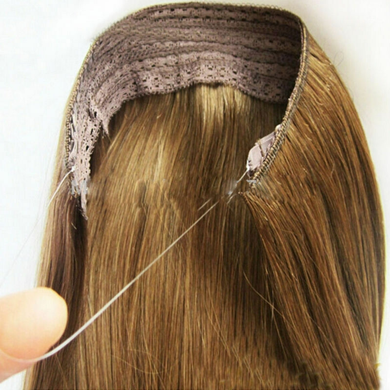 Human Hair Extensions Halo One Piece Invisible Wire Flip In 100