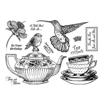 Crafty Individuals TEATIME DELIGHTS Unmounted Red Rubber Stamps