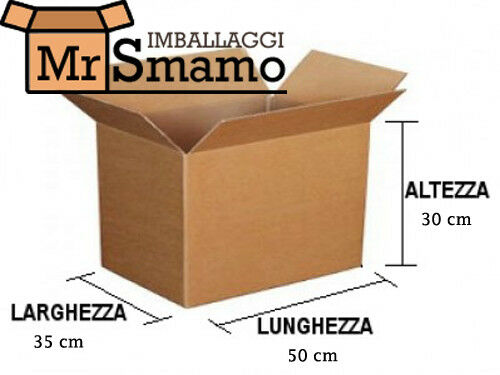 30 PEZZI 50x35x30 Kit Scatola Imballaggio Spedizione Trasloco Scatoloni Imballi