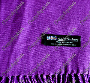 Soft 100% Cashmere Classic  Tassel Ends Long Scarf/Purple