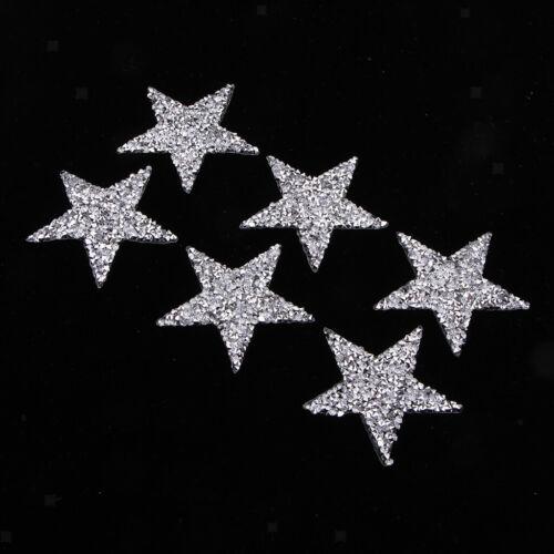 Prettyia 6Pcs Crystal Rhinestone Stars Patches Applique Iron-on Sew-on 6cm