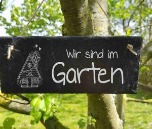 Schiefertafel Dekotafel Wir sind im Garten Schiefer Türschild Gartenschild Tafel